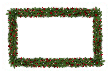 Скатерть елочные ветки на белом фоне (210)