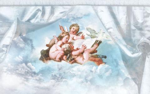Фото обои амуры в облаках за шторой (angel-00015)