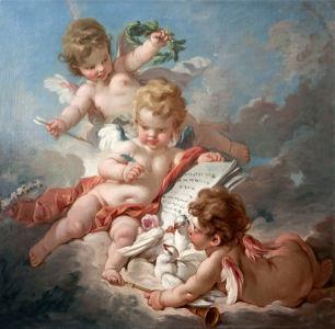 Картина - Три амура Франсуа Буше (angel-00024)