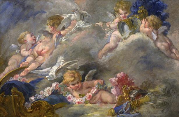 Обои фрески картина Буше ангелочки (angel-00042)