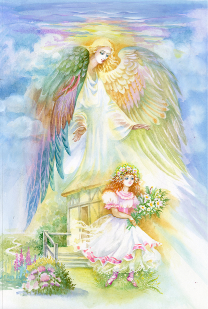 Обои Ангел и девочка (angel-00054)