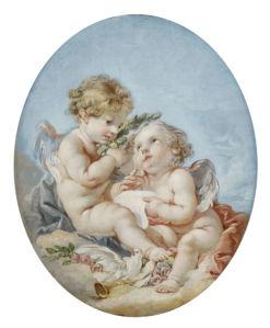 Фреска обои рисунок ангелы амуры (angel-00068)