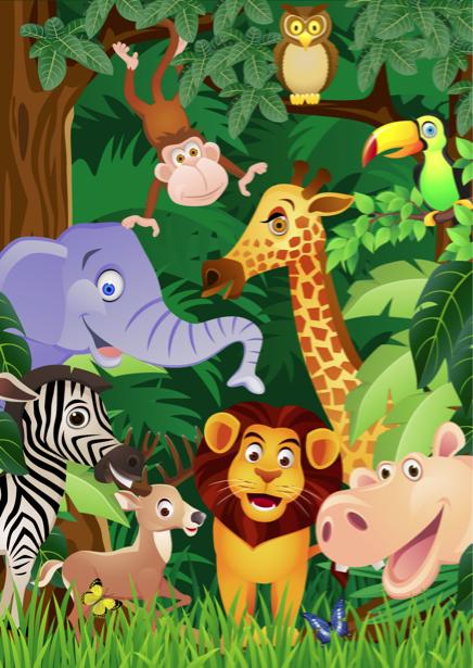 Детские фотообои лев, слон, жираф (children-0000229)