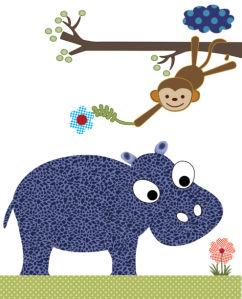 Детские фотообои бегемот и мартышка (children-0000398)