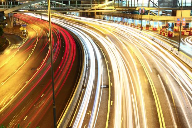 Фотообои ночной трафиик огни (city-0001151)