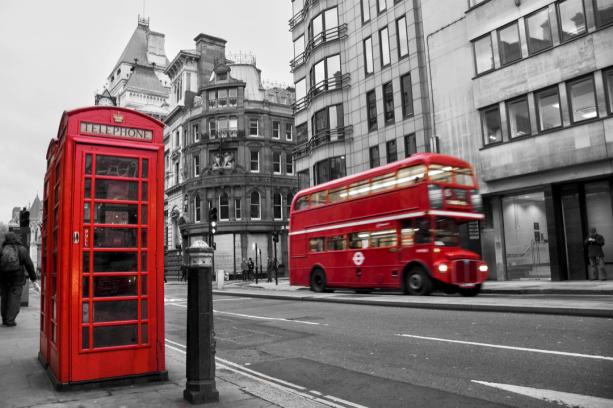 Фотообои улицы Лондона с автобусом (city-0001244)
