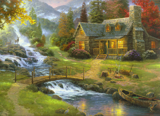 Фотообои домик в лесу мостик (fantasy-0000041)