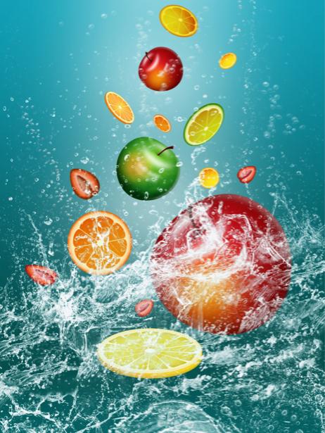 Обои на кухню фрукты в брызгах воды (food-0000109)