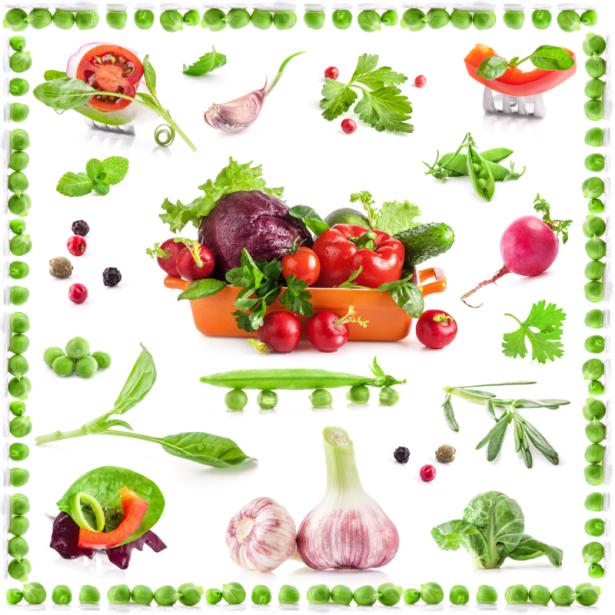 Фотообои на кухне коллаж из овощей (food-0000262)