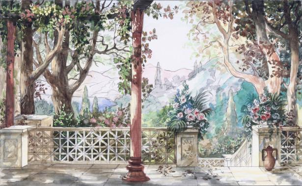 Фотообои вид с террасы на сад (ha4)