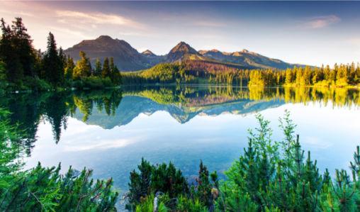 Фотообои горы озеро отражения (nature-0000681)