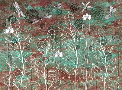 Фотообои Бабочки в малахите (prg-158)