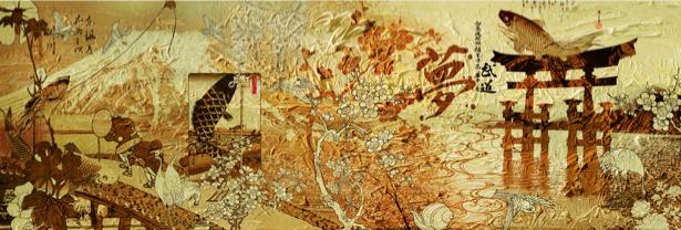 Фотообои восточная графика композиция (printmaking-0000027)