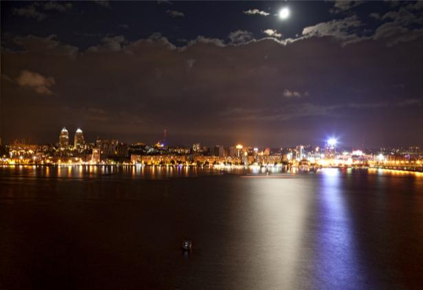 Фотообои Днепропетровск ноч луна (city-0000923)