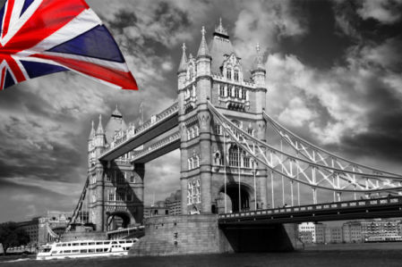 Фотообои Лондон Тауэрский мост ЧБ (city-0001238)