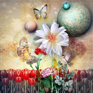 Фотообои коллаж с цветами (fantasy-0000172)