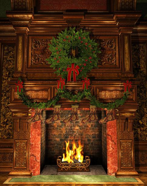 Фотообои Рождественский камин (fire-016)