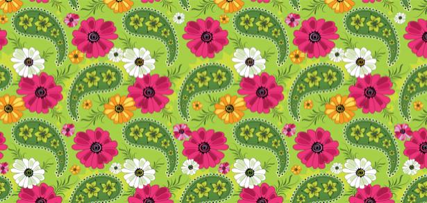 Фото обои на стену фон из рисованных цветов (flowers-0000119)