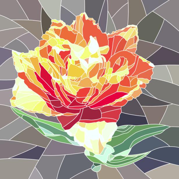 Фото обои цветок Витраж (flowers-0000695)