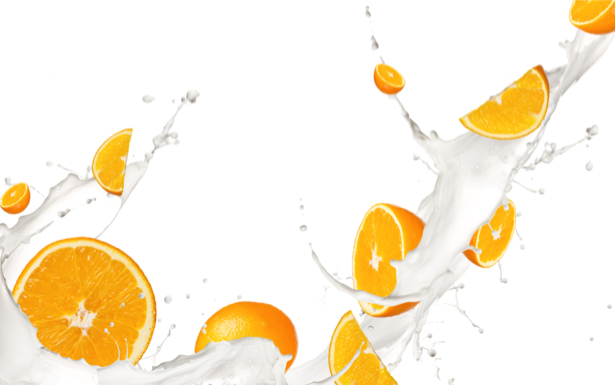 Обои на кухню Апельсин в молоке (food-0000017)
