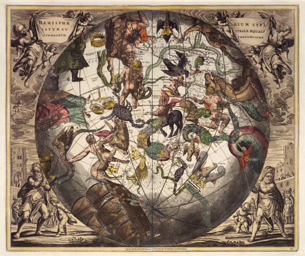 атлас, зодиак, карты, старая карта (map-0000085)