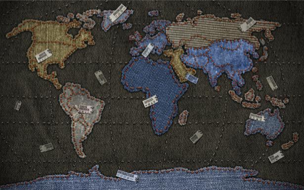 Фотообои джинсовая карта (map-0000204)