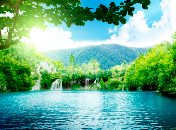 Фотообои пейзаж с водопадом река (nature-00311)