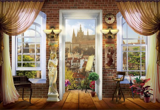 Фотообои вид из окна Прага Чехия (printmaking-0000045)