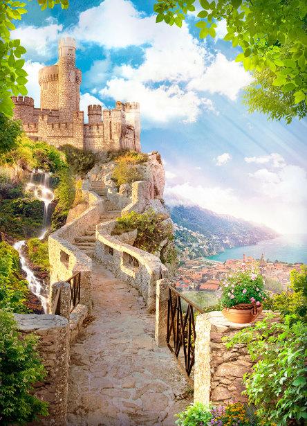 Фотообои дорога к замку (printmaking-0000131)