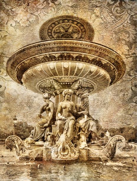 Фотообои в зал Париж фонтан (retro-vintage-0000033)