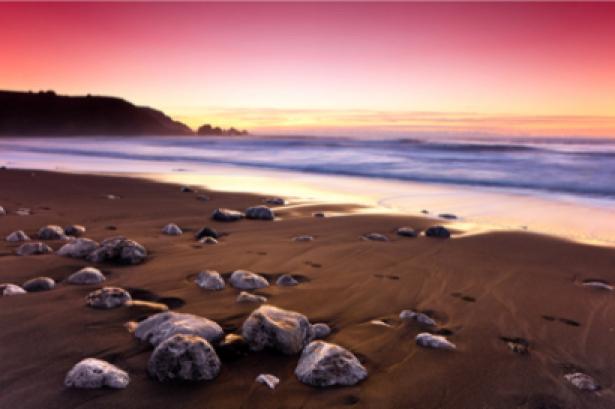 Фотообои розовый закат на морском пляже (sea-0000095)