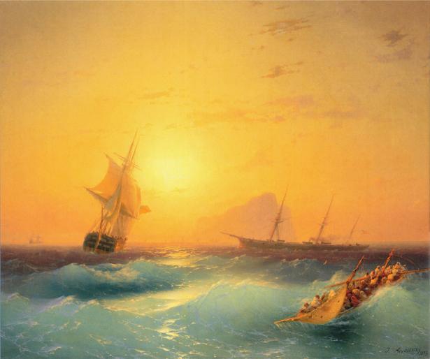 Фотообои живописная картина кораблей (transport-0000051)
