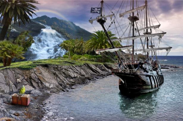 Фотообои старинный парусник в бухте (transport-0000148)