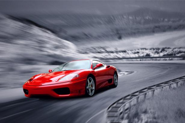 Фотообои красный автомобиль (transport-0000232)