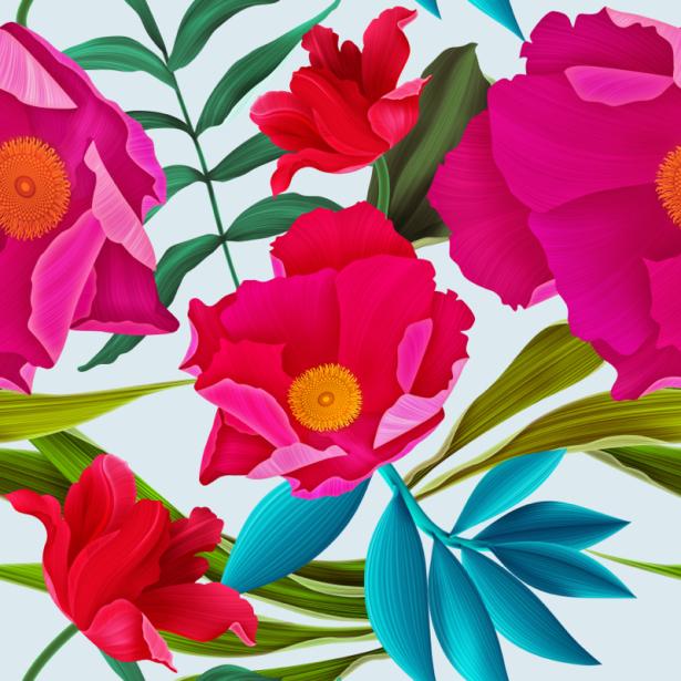 Обои для стен красные цветы (flowers-0000673)