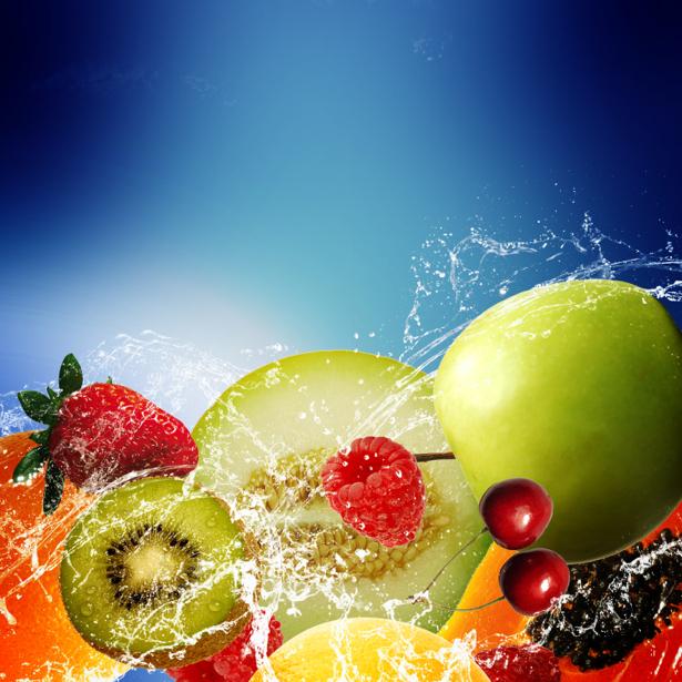Фотообои на кухню фрукты в брызгах (food-0000245)