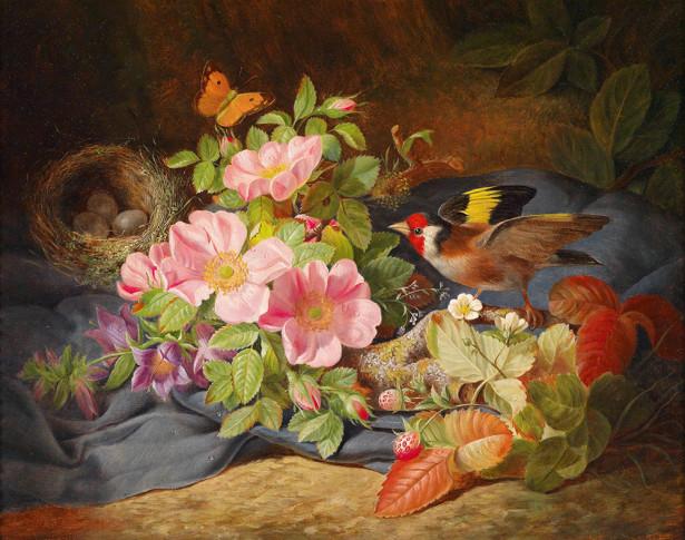 Картина цветы и гнездо птицы (pf-140)