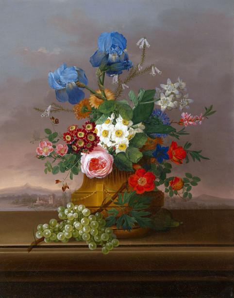 Картина Цветы с виноградом на фоне с пейзажем (pf-152)