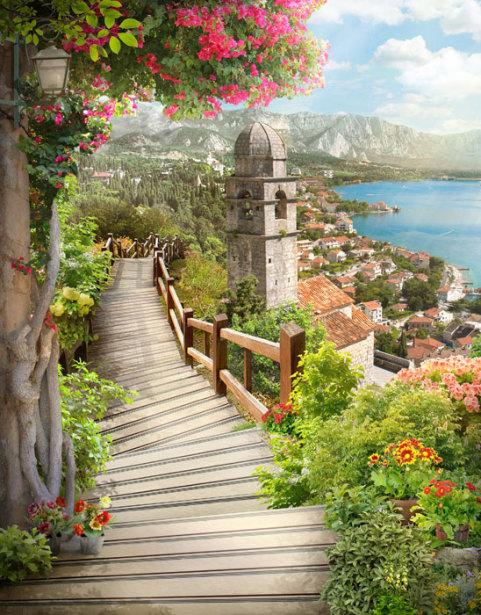 Фотообои лестница в Будве (printmaking-0000141)