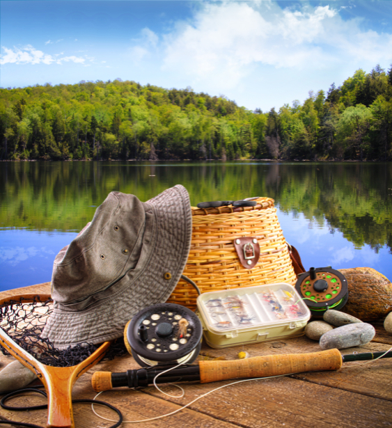 Фотообои рыбацкий набор на реке (sport-0000005)
