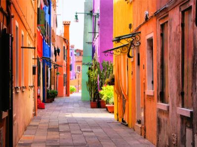 Фотообои яркие итальянские улочки (city-0001222)