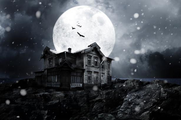 Фотообои дом на фоне луны (fantasy-0000030)