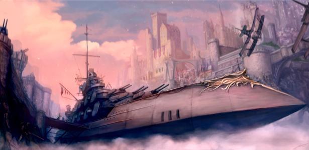 Фотообои летающая подводная лодка стим-панк (fantasy-0000058)