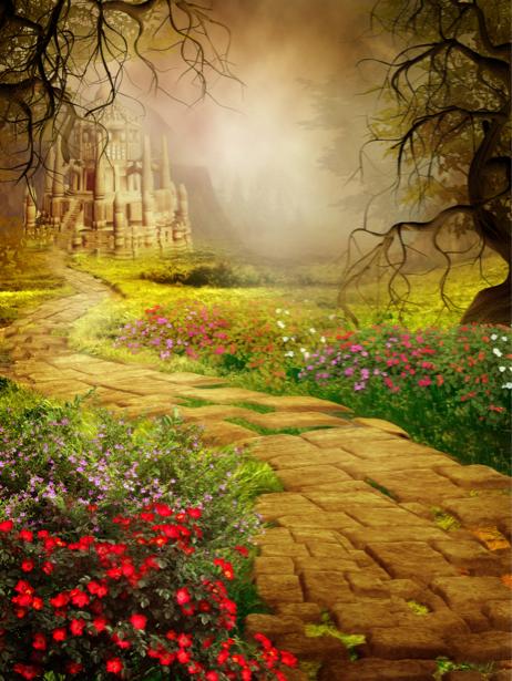 фотообои дорожка в лесу к замку (fantasy-0000144)