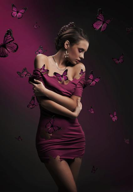 Фотообои девушка и бабочки (glamour-0000182)