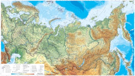 Фотообои физическая карта России (map-0000220)