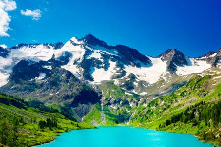 Фотообои с природой горное озеро снег (nature-00008)