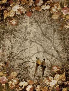 Фотообои птички на деревьях (printmaking-0000095)