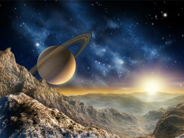 Фотообои чужая планета космический пейзаж (space-0000062)