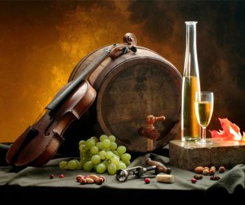 Фотообои виноград с вином скрипка (still-life-0033)